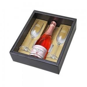 Kit Espumante Casa Valduga Arte Rose 750 ml com 2 Taças