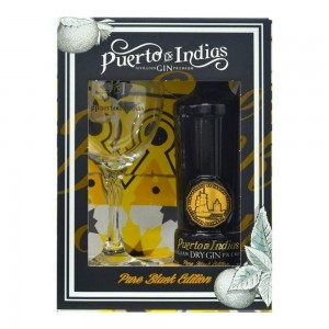 Kit Gin Puerto De Indias Black Edition 700 ml com Taça